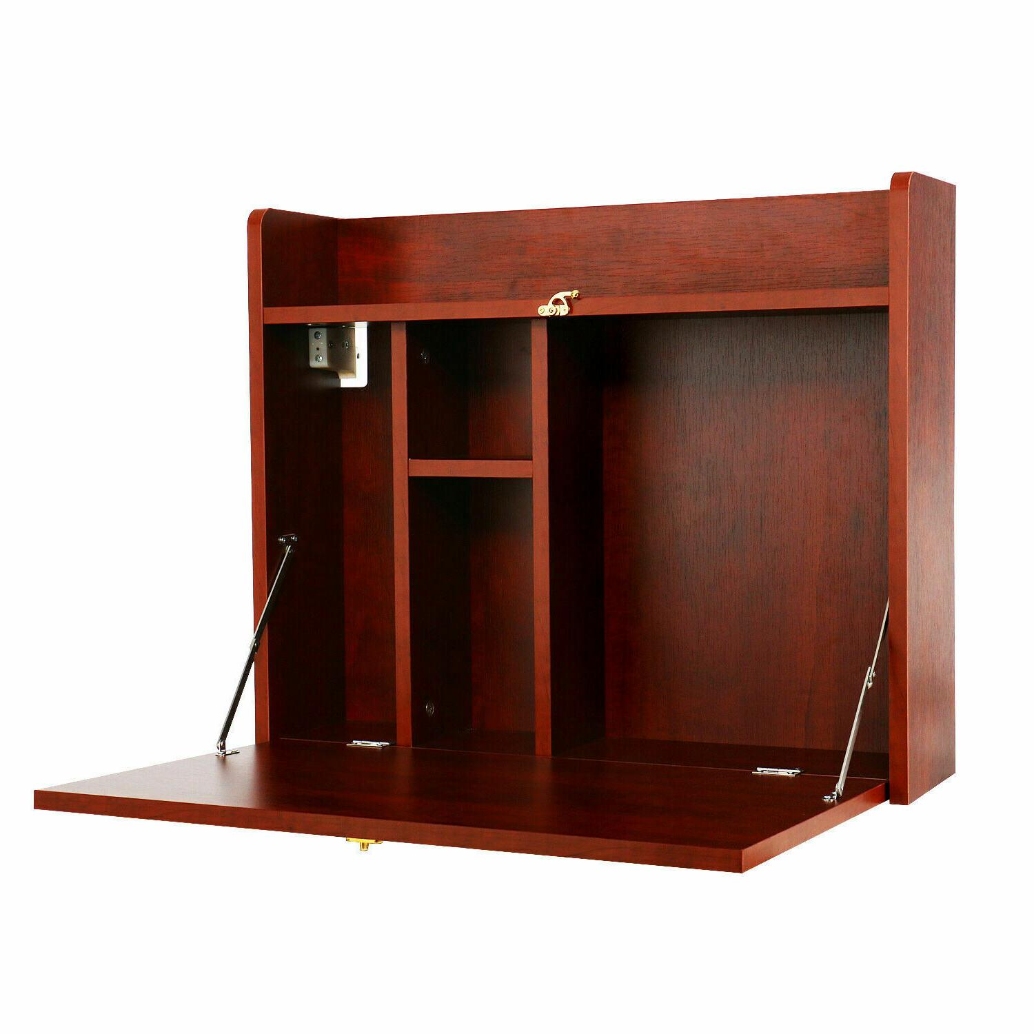 Wall Computer Desk Floating Table Work Storage Brown