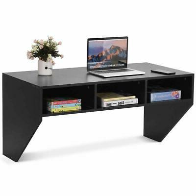 wall mounted floating computer table desk storage