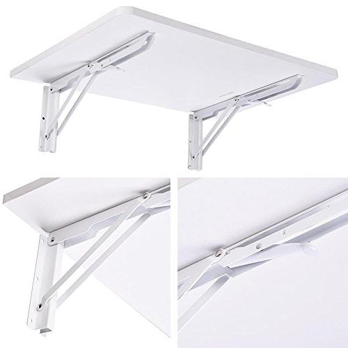 "Yescom Wall Mounted Folding Computer Desk 5/8"" x 15 66lbs Table White"