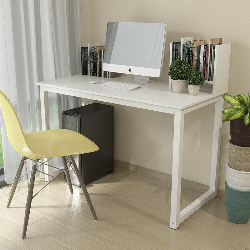 White Computer Study PC Laptop Home Workstation Free Bookcase