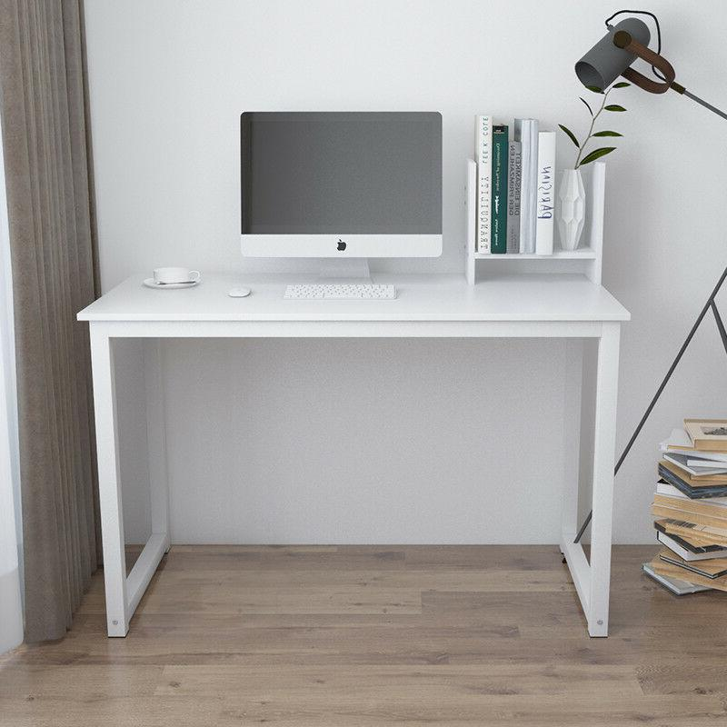 White PC Laptop Home Workstation Free Bookcase