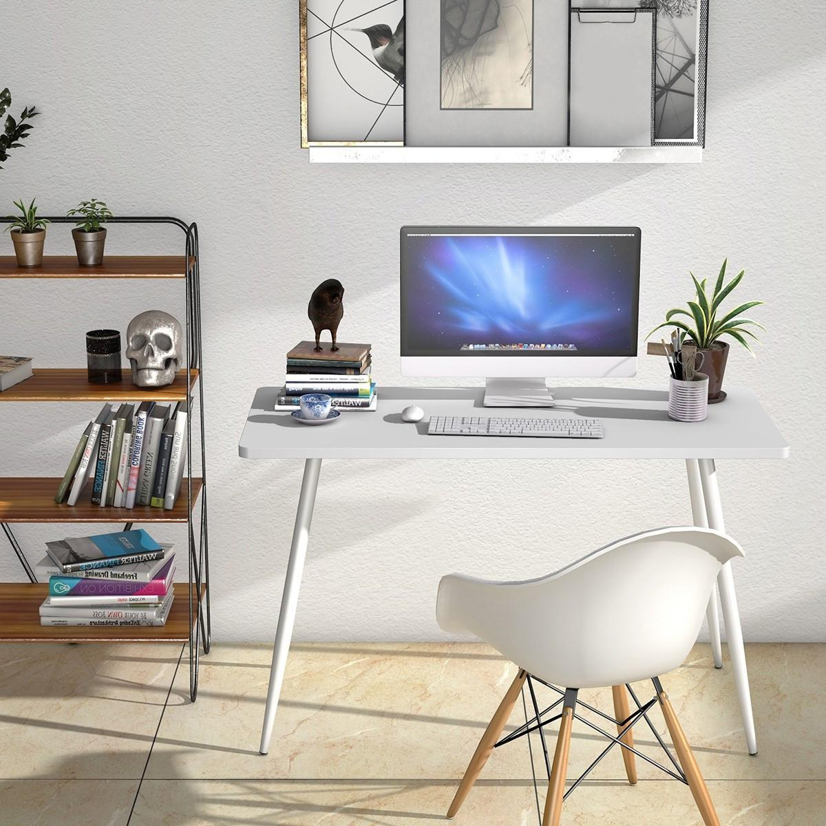 white computer writing desk student office table
