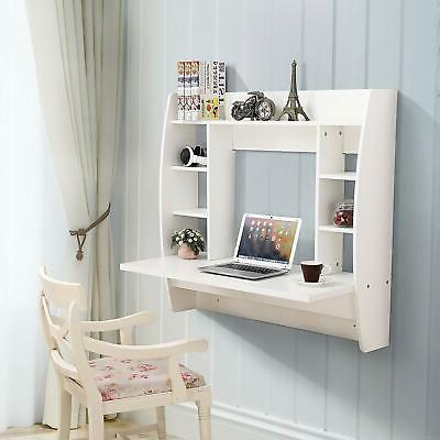 White Home Floating Computer Wall Mounted PC Laptop Desk w/