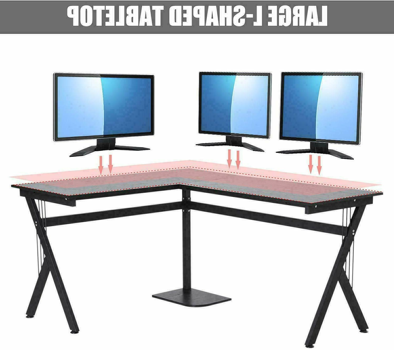 L-Shaped Computer Gaming Table Workstation Office