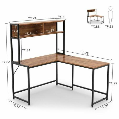 L-Shaped Computer Desk with Hutch Study Table Workstation Vi