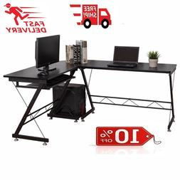 L-Shape Computer Corner Desk PC Laptop Table with Keyboard T