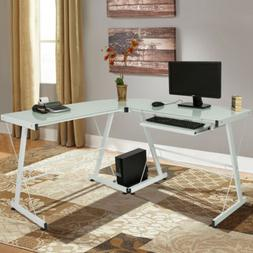 L-Shape Computer Desk PC Glass Laptop Table Workstation Corn