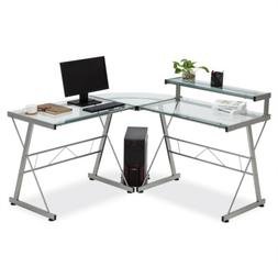 Clear L-Shape Corner Computer Desk Glass Laptop Table Workst