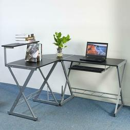 L-Shape Corner Computer Desk PC Laptop Table Workstation Hom