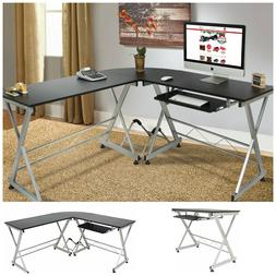 L Shape Corner Computer Desk PC Laptop Table Wood Workstatio