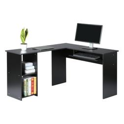L-Shaped Computer Corner Desk Table With Keyboard Tray Books