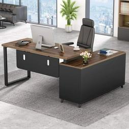 "L-Shaped Computer Desk, 55"" Large Executive Office Desk with"