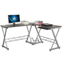 L-shaped Computer Desk Laptop PC Table w/ CPU Stand Keyboard
