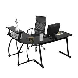 GreenForest L Shaped Computer Gaming Desk with Bookshelf Sta