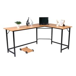 L-Shaped  Computer Table With Wooden Desktop Computer Desk B