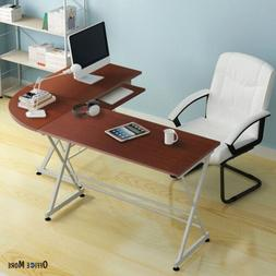 L-Shaped Corner Computer Desk PC Laptop Table Wood Workstati