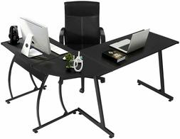 GreenForest L-Shaped Corner Desk Computer Gaming Desk PC Tab