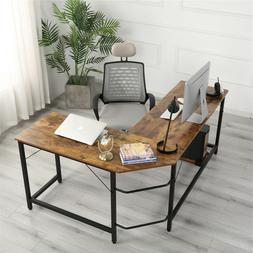 L Shaped Corner Desk Steel Computer Gaming Desk Wood Worksta