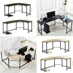 L-Shaped Corner Gaming Desk Work Wooden Stell Table Workstat