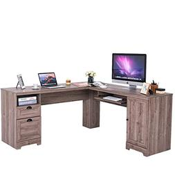 Tangkula L-Shaped Desk Corner Computer Desk, with Drawers an