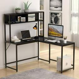 Tribesigns L-Shaped Desk with Hutch,55 Inch Corner Computer