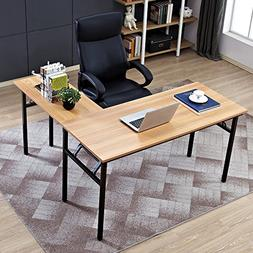 "Need 55"" x 55"" L-Shaped Folding Computer Desk, One-Step Asse"