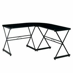 Techni Mobili L-Shaped Glass Top Computer Desk in Clear or B