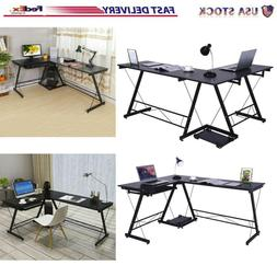 L Shaped Home Office Corner Desk Computer Table Steel Wood S