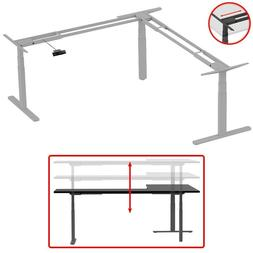 L Shaped Motor Sit Stand Corner PC Computer Desk Frame Heigh
