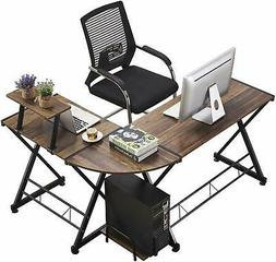 GreenForest L Shaped Office Computer Desk with Shelf PC Tabl