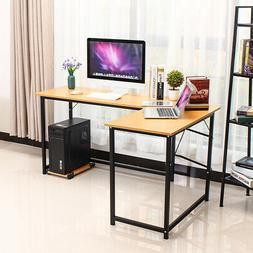 L-Shaped Wood Desk Computer Gaming Laptop Table Home Desk Of