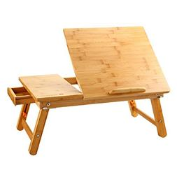 Laptop Desk Nnewvante Table Adjustable 100% Bamboo Foldable
