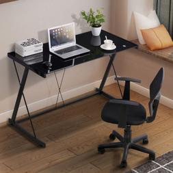 Computer Desk PC Laptop Tempered Glass Table Workstation Off