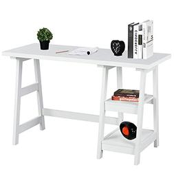 Writing Computer Desk Laptop Table White Trestle Home Office