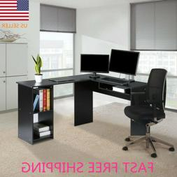 LANGRIA Large L-Shaped Computer Desk W/ Keyboard Tray 2-Book