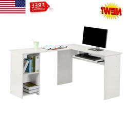 LANGRIA Large L-Shaped Computer Desk with Mute Sliding Keybo