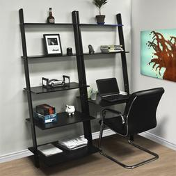Leaning Shelf Bookcase With Computer Desk Office Furniture H
