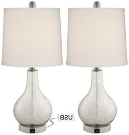 Ledger Mercury Glass Accent USB Table Lamp Set of 2