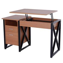 "HOMCOM 50"" Industrial Lift Top Standing Computer Desk with"
