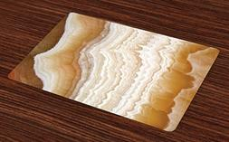 Ambesonne Marble Place Mats Set of 4, Odd Wavy Marble Patter