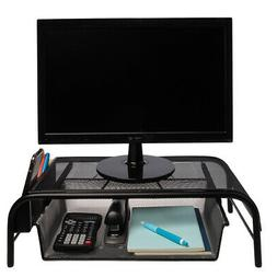 Mesh Metal Monitor Stand Riser Desk Storage Drawer Laptop Co