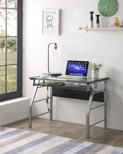 metal and glass top home office computer