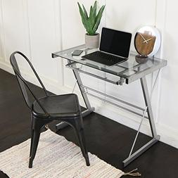 Walker Edison Metal Glass Computer Desk