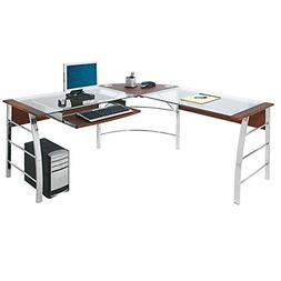 "Realspace Mezza ""L""-Shaped Glass Computer Desk, Cherry/Chrom"