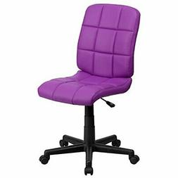 Flash Furniture Mid-Back Purple Quilted Vinyl Swivel Task Ch