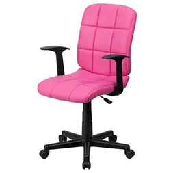 Flash Furniture Mid-Back Pink Quilted Vinyl Swivel Task Chai