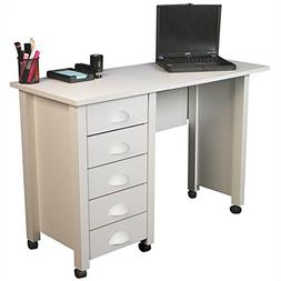 Mobile 5-Drawer Folding Desk & Craft Table in White Finish