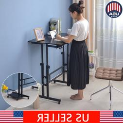Mobile Adjustable Height Standing Computer Desk Wheel Sit St