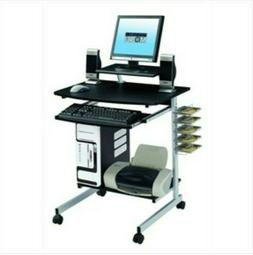 Mobile Compact Computer Cart Desk with Keyboard Tray w/Adjus