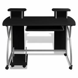 Mobile Computer Desk Pull Out Tray Finish Furniture Office B